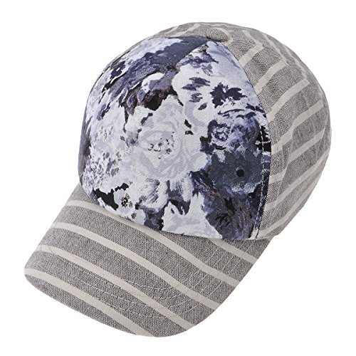 ZLYC Women Striped Floral Cotton Baseball Cap Adjustable Curved Snapback Hat, ()