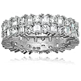 Platinum Plated Sterling Silver Swarovski Zirconia Baguette and Round Eternity Ring, Size 6