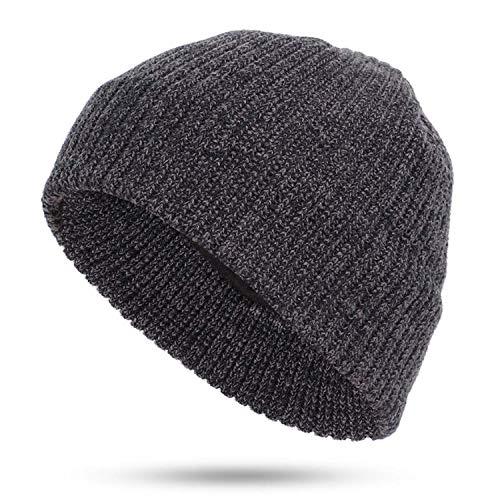 Winter Men's Plus Velvet Knit Beanies Hat Man Woman Casual Soft Cap Warm Slouchy,Black,
