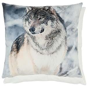 Animal relleno de Wolf plateado blanco y negro de terciopelo 45,72 cm Cojín