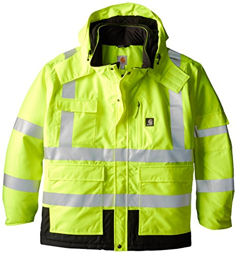 (Carhartt Men's Big & Tall High Visibility Waterproof Class 3 Insulated Sherwood Jacket,Brite Lime,XXX-Large)