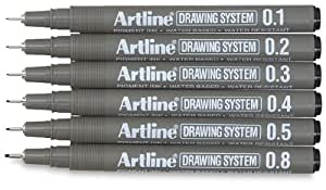 Artline Drawing Pens, Drawing System, Set of 6 Pens (0.1 mm, 0.2 mm, 0.3 mm, 0.4 mm, 0.5 mm, 0.8 mm)