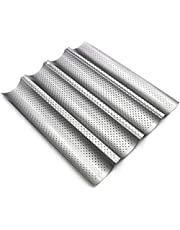 """Nonstick Perforated Baguette Pan 15"""" x 13"""" for French Bread Baking 4 Wave Loaves Loaf Bake Mold Toast Cooking Bakers Molding 4 Gutter Oven Toaster Pan Cloche Waves Silver Steel Tray"""