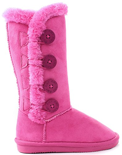 AMY Kids Girls Peach Wooden Button Faux Fur Lined Shearling Mid Calf Winter (Best Amy Winter Boots)