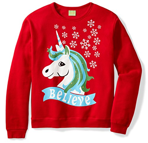Ugly Fair Isle Unisex Unicorn Graphic Long Sleeve Knit Sweatshirt Small (Long Sleeve Pullover Knit)