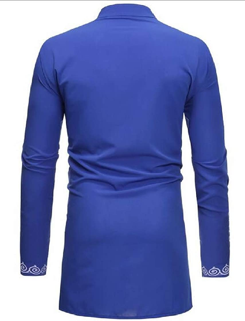 Cromoncent Men Fashion Long-Sleeve Printed Africa Dashiki Mid-Length Shirts