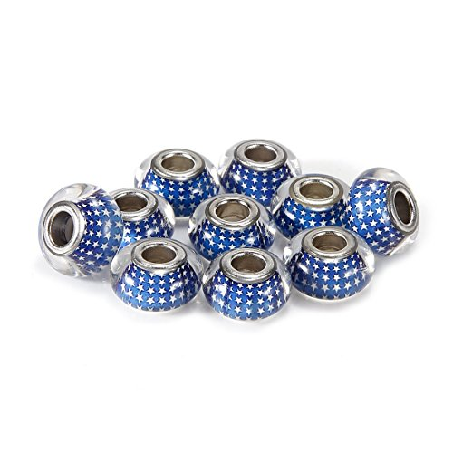 BRCbeads 10Pcs Silver Plate Sapphire Star Epoxy Enamel Murano Lampwork European Glass Crystal Charms Beads Spacers Fit Troll Chamilia Carlo Biagi Zable Snake Chain Bracelets.