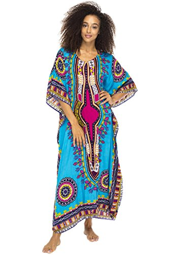 Caftan Ethnic - Back From Bali Womens Maxi Swimsuit Beach Cover up Caftan Ethnic Long Poncho Sequins Turquoise