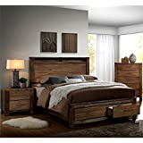furniture of america nangetti rustic 3 piece queen bedroom set in oak - Oak Bedroom Sets
