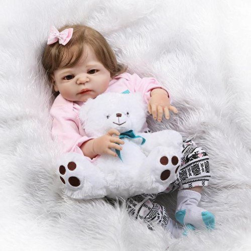 Pinky 57cm 23 Inch Full Body New Born Silicone Soft Vinyl So Realistic Looking Baby Girl Lifelike Reborn Baby Dolls Toddlers Magnetic Mouth Dummy