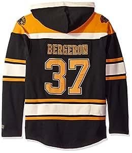 NHL Boston Bruins Patrice Bergeron Men's Player Lacer Name & Number Hoodie, Small, Black
