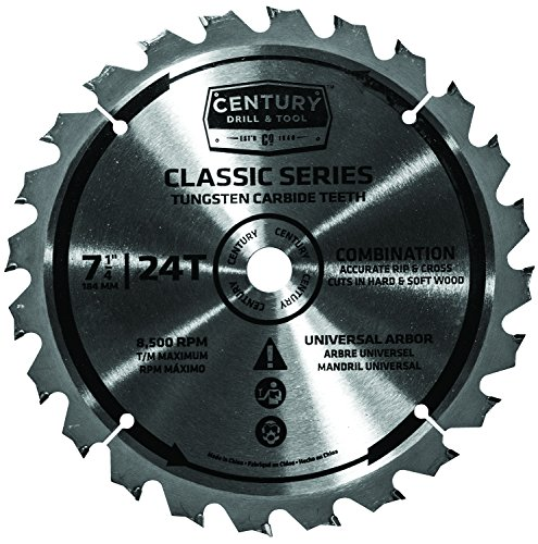 Century Drill and Tool 9207 TCT Carbide Combination Circular Saw Blade, 7-1/4-Inch