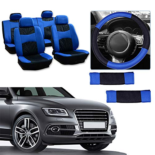 Seat Cover w/Headrest/Steering Wheel Cover/Shoulder Pads - 100% Breathable Seat Cover Washable Auto Covers Replacement fit for Most Cars(Black/Blue) ()