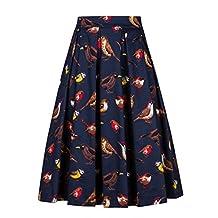 imimimomo Women Vintage Pleated Floral Print A Line Flare Midi Skirt