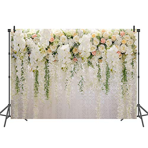 Mehofoto Floral Wedding Backdrop White and Pink Rose Wall Background 7x5 Bridal Shower Romantic Scene Photography - Backgrounds Photography Floral