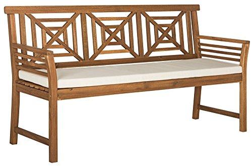3 Seat Teak Bench - Safavieh PAT6737A Outdoor Collection Del Mar 3 Seat Bench, Teak Brown/Beige