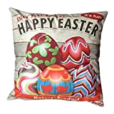 Pgojuni Easter Sofa Bed Home Decoration Festival Pillow Cover Easter Eggs Pillow Case Cushion Cover (J)