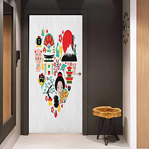 Onefzc Soliciting Sticker for Door Japanese The Land of The Rising Sun Culture Bonsai Tree Fuji Mountain Tea Sushi Zen Design Mural Wallpaper W23.6 x H78.7 Multicolor