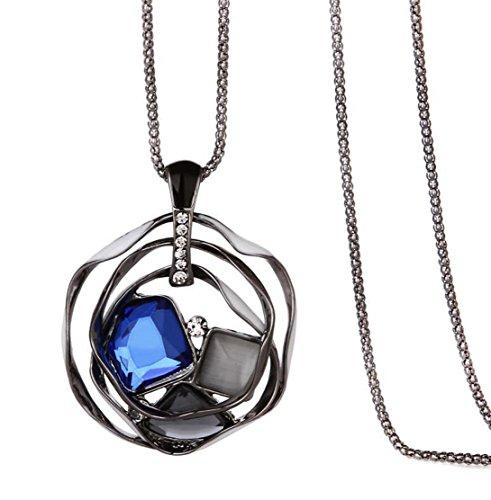 Nataliya Statement Pendant Necklace (Crystal Blue Pendant) by Nataliya