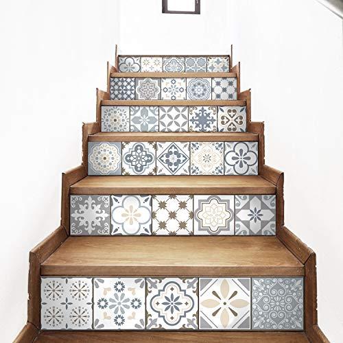AMAZING WALL AmazingWall Arabic Style Stair Sticker Faux Tile Decal Furniture Mural Decor Kitchen Bathroom Wallpape 7.1x39.4 6PCS/Set ()