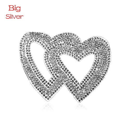 OFCCN New Embroidery Sparkling Double Heart Pattern Clothing Accessaries Rhinestone Iron-on Patches Clothes Appliques