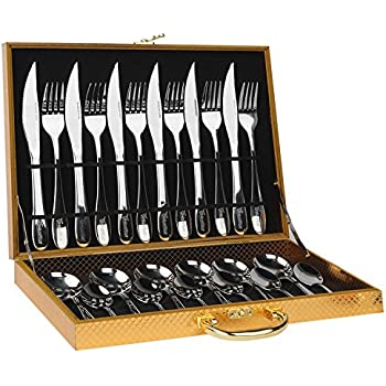 HUIRUI Flatware Sets, Stainless Steel Silverware Cutlery Set, 24pcs Kitchen  Flatware Tableware Dinnerware Set