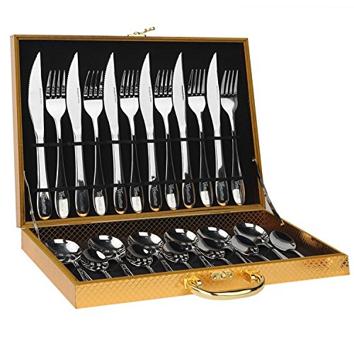 HUIRUI Flatware Sets, Stainless Steel Silverware Cutlery Set, 24pcs Kitchen Flatware Tableware Dinnerware Set Gift Box Package Utensil Set