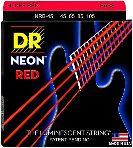 DR Strings Hi-Def NEON Red Coated Medium 4-String  Bass Guit