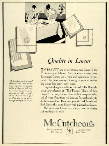 1928 Ad McCutcheons Linens Fabrics Table Damask Lace Banquet Cloths Embroidery - Original Print Ad by PeriodPaper...