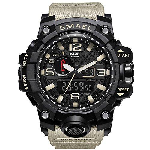 IRELOJ Men's Large Face Dual Dial Analog Digital Quartz Military Sport Watch 164FT Water Resistant-Beige