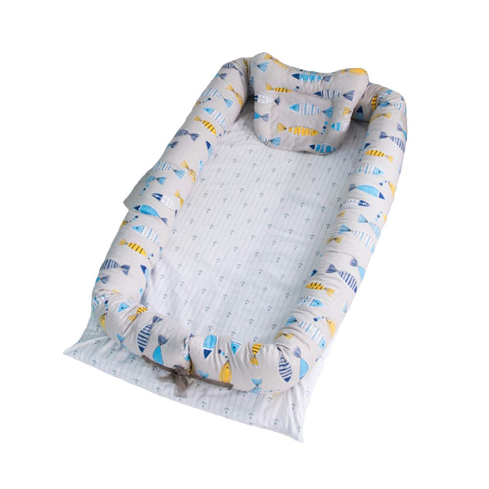 Rest-Eazzzy Cozy Baby Nest Bed with Removable Cover, Portable Crib Lounger Baby Bassinet for Newborn Better Sleeping in Bed, Fishes
