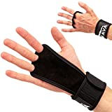 New ProductLeather Hand Grips with Wrist Support for Cross Fitness WODs, Pull Ups, Kettlebell Workout, Barbell Training, Weightlifting, Velcro Wrist Support, Calluses Protect, for Men and Women