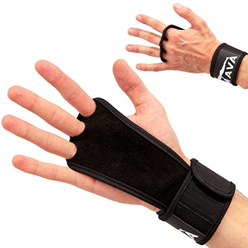 Leather Hand Grips with Wrist Support for Cross Fitness WODs, Pull Ups, Kettlebell Workout, Barbell Training, Weightlifting, Velcro Wrist Support, Calluses Protect, for Men and Women by Generic