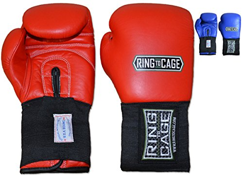 Ring to Cage USA Boxing Approved Amateur Competition Boxing Gloves - Blue or Red (Red, 12oz) (Ring Boxing Competition)