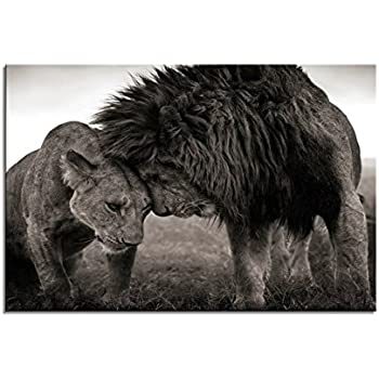 youkuart Canvas Wall Art Lion Artistic The Picture Print On Canvas Animal Pictures for Home Decor Decoration Gift(20inx40in)