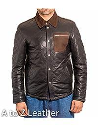 Mens Leather Biker Designer Casual Shirt Style Denim Style Western Trucker Jacket