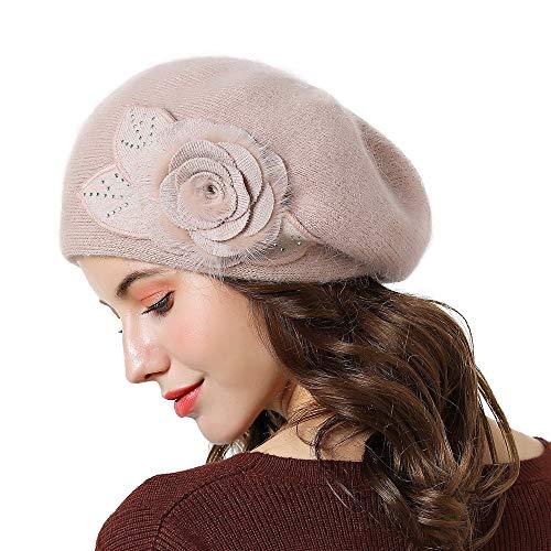Boina Elegante Beige Caliente Regalo color Ganchillo Sombrero Hat De Invierno Beanie Beige Mujer Boinas Punto Flor Para El Artista YxSwq6wCRU