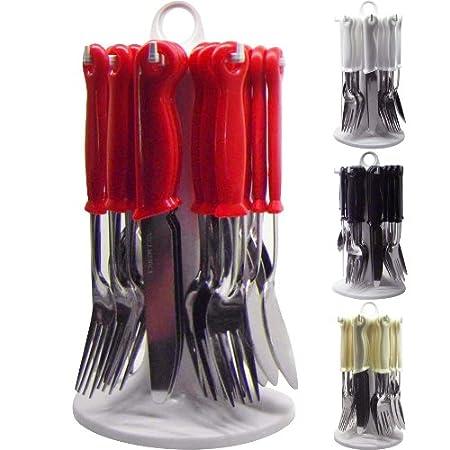 NEW 24PC CUTLERY DINNER SET RACK METAL FORKS TEASPOONS TEA SPOONS DRAINER STAND BLACK