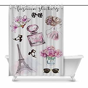 InterestPrint Beautiful Woman Perfume Bottle Flowers Shoes Eiffel Tower Shower Curtain, Waterproof Fabric Bath Decor, Art Print Peculiar Bathroom Curtain With Plastic Hooks,69''x84''