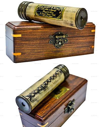 Handmade Brass Kaleidoscope Art for Adults & Kids Antique Look with Wooden Box |