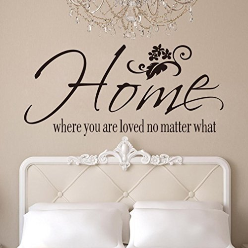 BCDshop Wall Sticker Decal Saying Home Where You are Loved No Matter What Home Bedroom Wall Decor Art Mural Removable