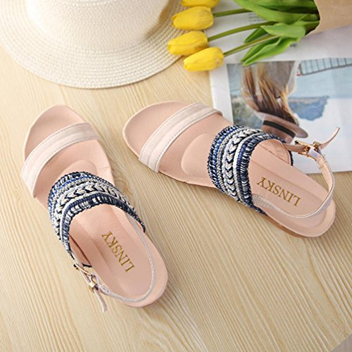 Lolittas Summer Beach Boho Sandals for Women,Embellished Flat Ankle Strappy Open Toe Wide Fit Slingback Size 2-7 Blue