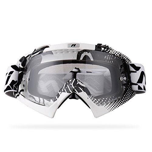 NENKI MX Goggles NK-1019 Motocross ATV Off Road Dirt Bike Goggles For Unisex Adult (White & Black,Clear Lens)