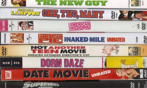 Not Another Teen Movie Unrated Directors Cut , the New Guy , National Lampoon One Too Many, American Wedding, American Pie the Naked Mile Unrated, Dorm Daze, Date Movie Unrated, Superhero Movie : B-movie 8 Pack Collection