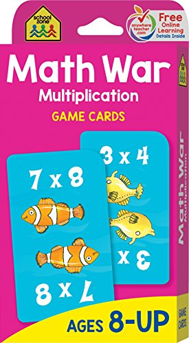 Multiplication War Game Cards, Ages 8-Up, math games, multiplication tables, third grade math standards, playful learning