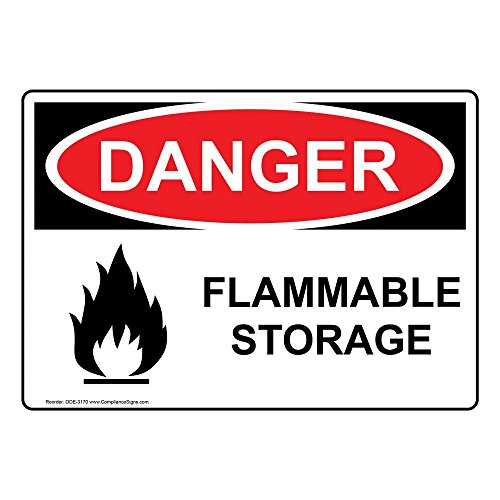 Danger Flammable Storage OSHA Safety Sign with Symbol, 14x10 in. Aluminum for Hazmat by ()