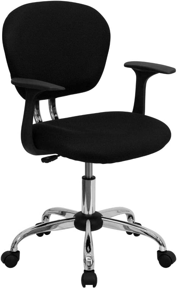Flash Furniture Mid-Back Black Mesh Padded Swivel Task Office Chair with Chrome Base and Arms