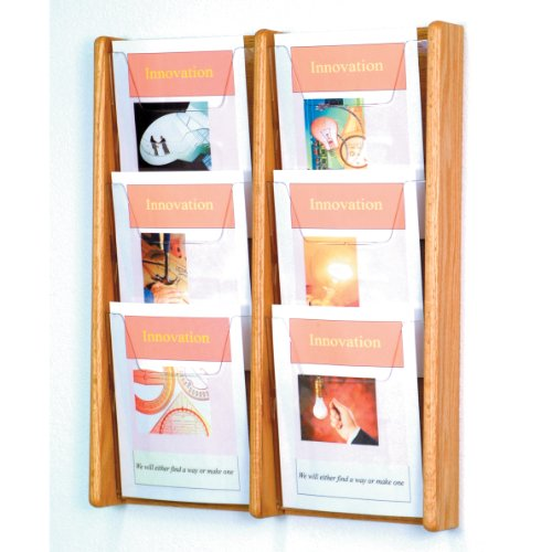 DMD Literature Display, 6 Pocket, Solid Oak and Acrylic Wall Mount Rack, Light Oak Wood Finish