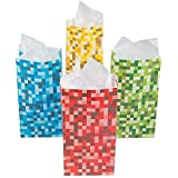 Paper Pixel Treat Bags Blue Red Green and Yellow (Set of 12)