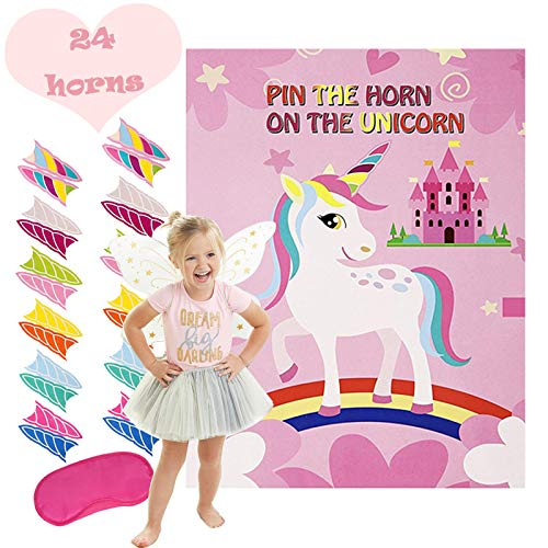 Cooper Horn - Cooper life Unicorn Party Supplies-Unicorn Funny Game,Pin The Horn on The Unicorn,Birthday Favor Gift& Christmas present for Kids